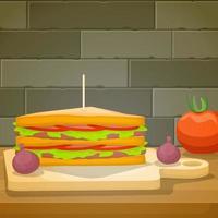 panino con formaggio e pomodori vettore