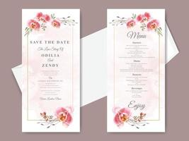 bellissime carte di invito a nozze disegnate a mano floreali vettore