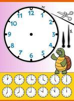 foglio di lavoro educativo del fumetto del quadrante dell'orologio per i bambini vettore