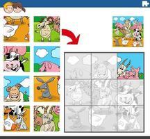 gioco di puzzle con personaggi di animali da fattoria vettore