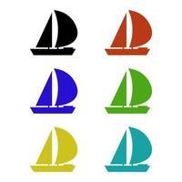 barca a vela su sfondo bianco vettore