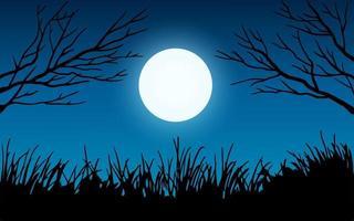ramo di un albero al chiaro di luna vettore