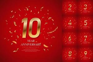 imposta il numero d'oro della celebrazione dell'anniversario con scintillanti coriandoli stelle glitter vettore
