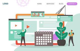 modello di pagina di destinazione con uomini d'affari che costruiscono un sito Web moderno vettore