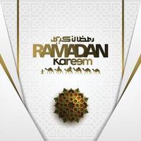 Ramadan Kareem biglietto di auguri disegno vettoriale modello islamico con calligrafia araba.