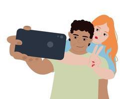 illustrazione vettoriale di una giovane coppia di innamorati felice fa su uno smartphone. un uomo e una donna vengono fotografati insieme. famiglia in viaggio romantico.
