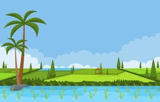 campo di risaia pronto per il raccolto illustrazione vettore