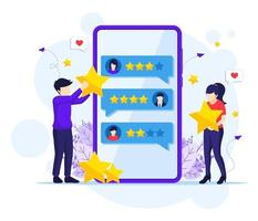 concetto di recensioni dei clienti, persone che danno valutazione a stelle, feedback, soddisfazione e illustrazione vettoriale piatta di valutazione