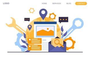 landing page con la creazione di un moderno progetto di pagina web vettore