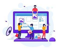 concetto di marketing digitale, le persone stanno mettendo i contenuti sullo schermo per promuovere i prodotti in linea illustrazione piatta ector vettore