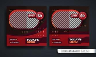 modello di post sui social media a tema hamburger vettore