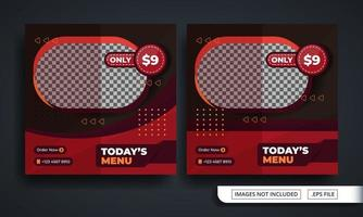 modello di post sui social media a tema hamburger