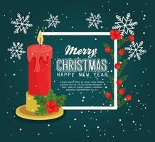 buon natale e felice anno nuovo banner con candela vettore