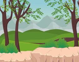 paesaggio con alberi e arbusti di fronte al disegno vettoriale di montagne