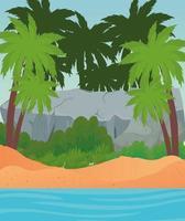 spiaggia con palme, grande roccia e disegno vettoriale mare