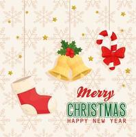 buon natale e felice anno nuovo banner con icone appese disegno vettoriale