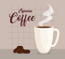caffè espresso, tazza in ceramica e chicchi di caffè