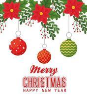 buon natale e felice anno nuovo banner con ornamenti vettore