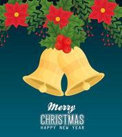 buon natale e felice anno nuovo banner con campane vettore