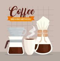 metodi di caffè, tazza di ceramica con chemex e versare sopra