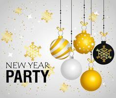 felice anno nuovo banner con ornamenti appesi e fiocchi di neve disegno vettoriale