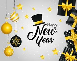 banner di felice anno nuovo con doni e ornamenti vettore
