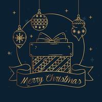 buon natale e felice anno nuovo banner con regalo vettore
