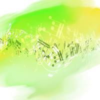 Note musicali astratte su texture ad acquerello vettore