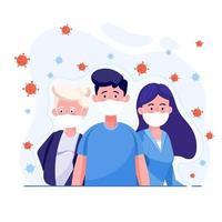 persone che indossano mascherina medica protettiva per proteggere il virus covid-19 con il virus diffuso nell'aria. concetto di design illustrazione di assistenza sanitaria e medica. virus corona mondiale e concetto covid-19. vettore
