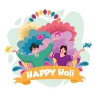 felice sfondo holi con la tradizionale coppia indiana illustrazione vettoriale