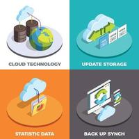concetto isometrico di servizi cloud 2x2 vettore