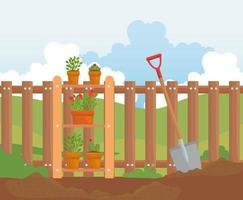 piante da giardinaggio, vasi e pala sul disegno vettoriale di terra