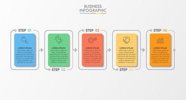 modello di infografica aziendale moderno di forma quadrata con 5 opzioni vettore