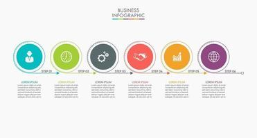 icone di infografica con 6 opzioni vettore