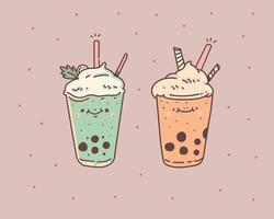 set disegnato a mano di disegno del tè al latte della bolla vettore