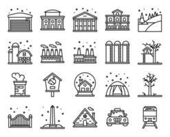 set di icone vettoriali di linea città invernale