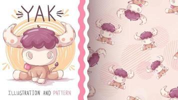 personaggio dei cartoni animati infantile yak animale - modello senza soluzione di continuità vettore