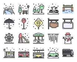 set di icone vettoriali riempito città invernale