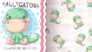 personaggio dei cartoni animati infantile alligatore animale vettore
