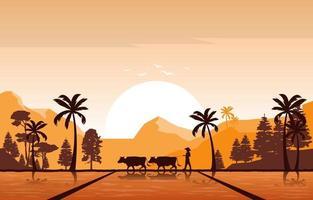 alba dorata nell'illustrazione asiatica del campo di riso vettore