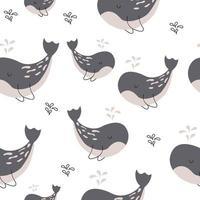 balena e piccoli pesci seamless pattern print design. disegno di illustrazione vettoriale per tessuti di moda, grafica tessile, stampe