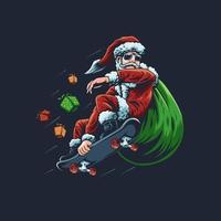 illustrazione vettoriale di skateboard Babbo Natale