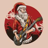 chitarrista babbo natale illustrazione vettoriale