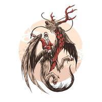 illustrazione vettoriale di drago cervo Babbo Natale