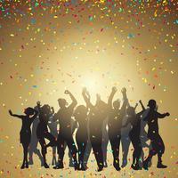Party persone su uno sfondo di coriandoli