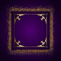 Sfondo cornice decorativa con glitter oro vettore