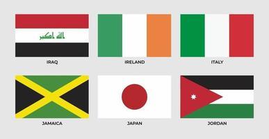 bandiera dell'iraq, irlanda, italia, giamaica, giappone, giordania. vettore
