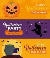 felice set di banner di halloween