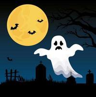 banner di halloween felice con fantasma al cimitero