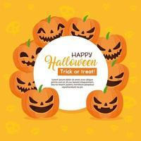 banner di halloween felice con cornice circolare con zucche